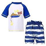 LACOFIA Maillot de Bain Deux Pièces pour Bébé Garçon Ensemble T-Shirt et Shorts de Bain pour Enfants Séchage Rapide Protection Solaire UPF50+ Bleu 5-6 Ans
