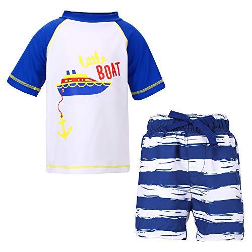 LACOFIA 2 Stück Kleinkinder Jungen Badeanzug UPF 50 + Sonnenschutz Kinder Schwimmshirt und Badeshort Set UV-Schutz Badesets für Jungen Blau 4-5 Jahre 5T