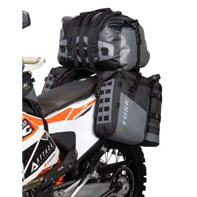 Tusk HIGHLAND Rackless Motorcycle Enduro Dual Sport Luggage System with Medium Dry Duffel and Accessory Bags - Includes Neck Gaiter