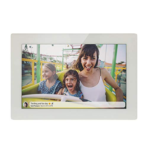 JHZL 10.1 Inch 16GB Smart WiFi Digital Picture Frame, Danish Design Frameo App Send Photos or Small Videos from Anywhere, Touchscreen, IPS 1280x800 LCD Panel (White) Digital Frames Picture