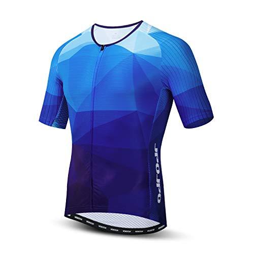 JPOJPO - Maillot de Ciclismo para hombre, S-3XL - licra+poliéster, con cremallera, reflectante, 4 bolsillos -  Azul -  etiqueta L