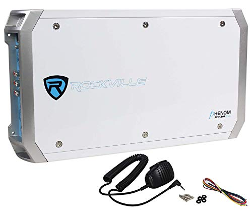 Rockville RXM-F4 Marine 4 Channel Amplifier 2400w Peak/600w RMS+PA Microphone