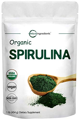 Micro Ingredients Pure Organic Spirulina Powder,1 Pound, Rich in Antioxidant, Minerals, Fatty Acids, Fiber and Protein, No Irradiated, No Contaminated, No GMOs and Vegan Friendly