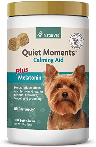 NaturVet Quiet Moments Calming Aid Dog Supplement – Helps Promote Relaxation, Reduce Stress, Storm Anxiety, Motion Sickness for Dogs – Tasty Pet Soft Chews with Melatonin – 180 Ct.
