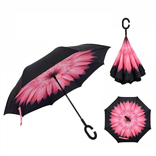 Cisixin Parapluie Inversé avec Mains Libres Poignée en Forme C, Double Couche Coupe-Vent Anti-UV Soleil, Parapluie Canne Idéal pour Voyage et Voiture (Marguerite)
