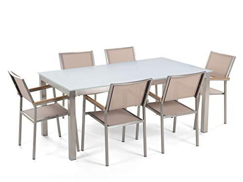 Beliani - Table de Jardin et 6 Chaises - Grosseto - Plateau en Verre, 180 x 90 cm, Chaises en Tissu, Beige et Blanc