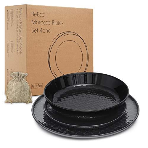 BeEco Marokko-Teller Schwarz | Handgefertigt | Umweltfreundliches Produkt, 3-teiliges Set für 1 Person | Speiseteller + Beilagenteller + Suppenschüssel | Tolle Geschenkidee
