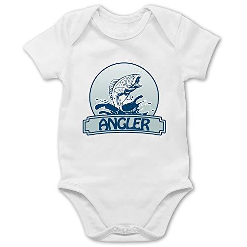 Sport Baby - Angler Button - 1/3 Monate - Weiß - Strampler Angeln - BZ10 - Baby Body Kurzarm für Jungen und Mädchen