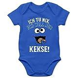 Shirtracer Sprüche Baby - Ich tu nix. Ich Will nur Kekse! - weiß/schwarz - 12/18 Monate - Royalblau - Baby Strampler Junge Spruch - BZ10 - Baby Body Kurzarm für Jungen und Mädchen