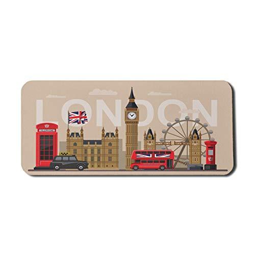 London Computer Mouse Pad, berühmte britische Sehenswürdigkeiten Denkmäler Kunstmuster Touristisches Reiseziel, Rechteck rutschfestes Gummi-Mauspad X-Large Beige
