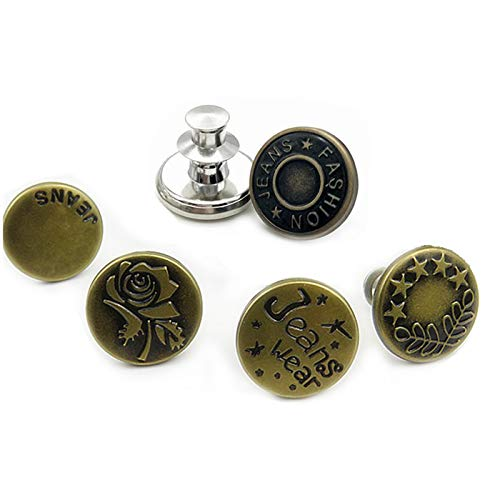 Sweetimes ジーンズボタン タックボタン 繰り返し使用可 ピン止め ユニセックス 5バリエーションx2個 合計10個セット No.135