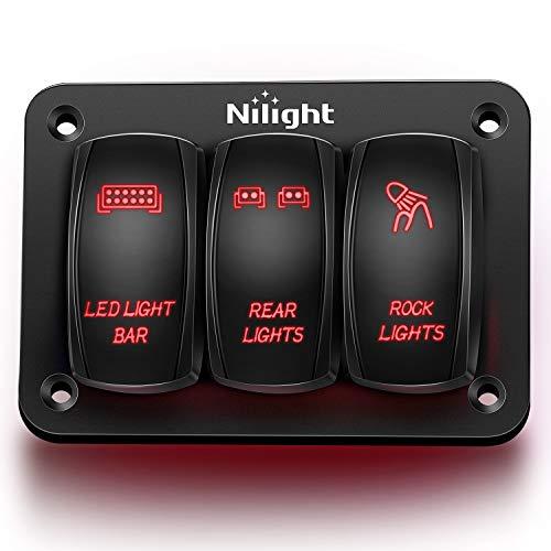 Nilight - 90128C 3 Gang Rocker Switch Panel Aluminum 5 Pin ON Off Toggle Switch...