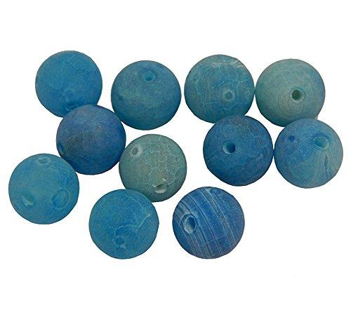 Perlas de piedras preciosas de 4 mm, ágata mate, selección de colores, juego de bola, piedra natural esmerilada, perlas semipreciosas con agujero para enhebrar, perlas de joyería (azul)