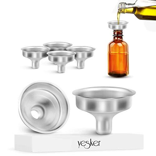 Yesker - Mini embudo de acero inoxidable para botellas de aceite esencial (6 unidades)