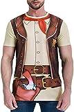 COSAVOROCK Men's Western Cowboy Costume T-Shirts Brown XXL
