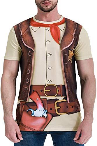 COSAVOROCK Disfraz de Vaquero para Hombre Camiseta (M, Marrón)