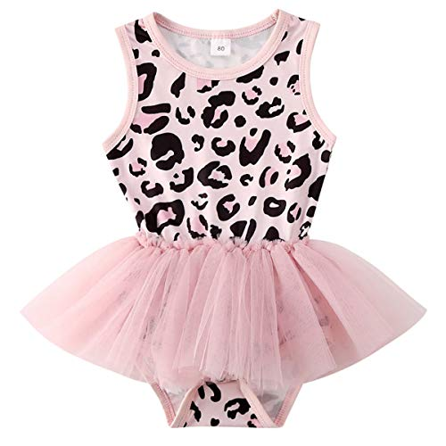 Newborn Infant Baby Girls Leopard Outfits Ruffle Romper Bodysuit One...