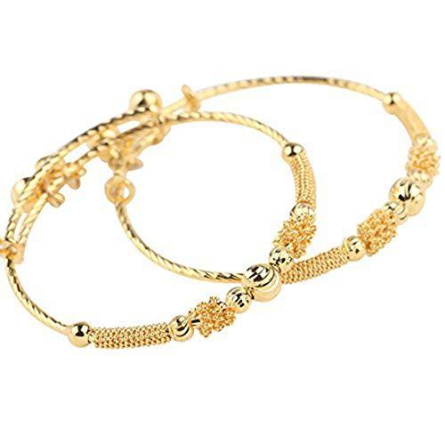 Loyoe Jewelry 24k Yellow Gold Plated Baby's Bracelet Adjustable Children's Bangle(2pcs/lot)