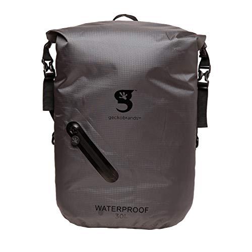 geckobrands Waterproof 30L Backpack – Lightweight Packable Dry Bag, Grey/Black