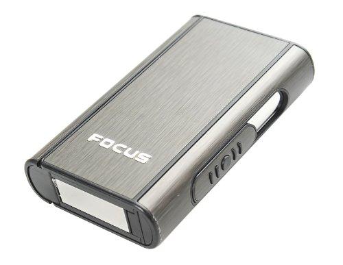 Focus Estuche de Cigarrillos automático de Aluminio (9.5cm x 5.7cm x 1.8cm), de Color Negro, 464-02 DE