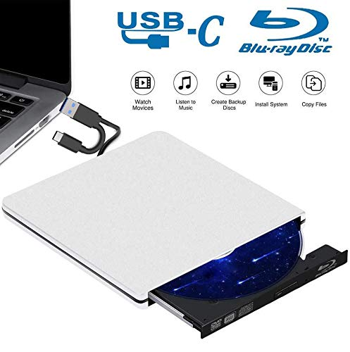 Tokenhigh BLU Ray 3D Grabador de Unidad de DVD Externo, Grabadora DVD Reproductor Externo Portatil USB 3.0 Type C Reproductor de CD DVD Disco para Windows 10/7/8/Vista/XP/Mac OS