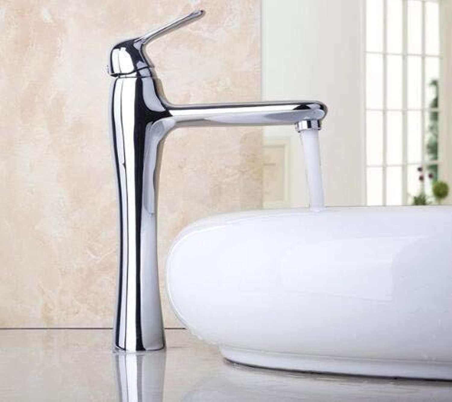 Bathroom Taps Basin Mixer Taps Bathroom Faucet Sinkbathroom Basin Sinks Faucet High Water Taps Deck Mounted Chrome Finished & Single Lever Solid Brass Vanity Sink Basin Faucet ( color   - , Size   - )