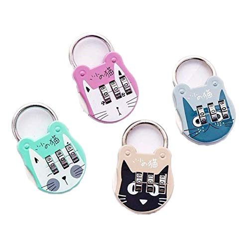 YANGTAO Cats Luggage Lock, Luggage Backpack Password Lock Cartoon Mini Padlock Diary Notebook Handbag,Pink