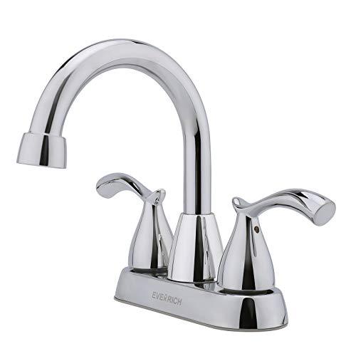 Everrich 2 Handle Bathroom Faucet, 4 Inch Centerset Bathroom Sink Faucet Lead-Free Modern Commercial, 3 Holes Double Handles RV Bathroom Vanity Sink Faucets, Chrome