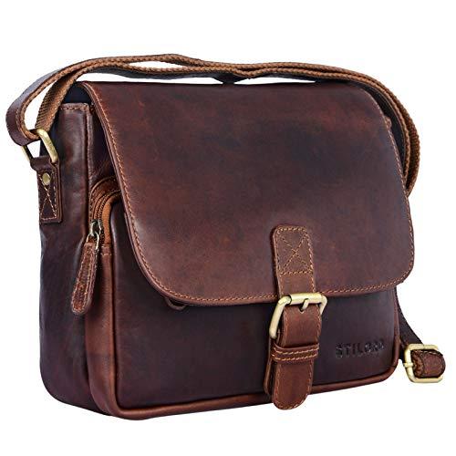 STILORD \'Lucian\' Vintage Umhängetasche Leder klein für Herren und Damen Schultertasche für 10.1 Zoll Tablet iPad DIN A5 Handtasche aus echtem Leder, Farbe:Cognac - Dunkelbraun