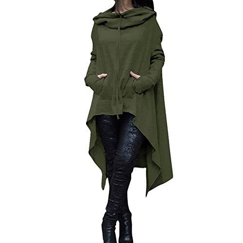 YWLINK Frauen Elegant Asymmetrische Bluse Loser Hoodie Lange Kapuze Oberteile Damen Sweatshirt Pulli Pullover Rollkragen(M,Armeegrün)
