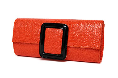 FLHT Frau Damen Unterarmtasche Leder Kettenbeutel Handtasche Luxus Abendtasche Geschenk Briefumschlag Hochzeit Unterarmtasche Kleine Tasche Geldbörse Schultertasche,Orange-OneSize
