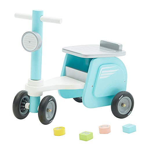 Baby Blue Stylish Wooden Ride On Bike Motorcycle Shaped Balance Bike No Pedal 4 Wheels Push & Pull Toy for Children Toddler 1-3 Years Indoor Outdoor