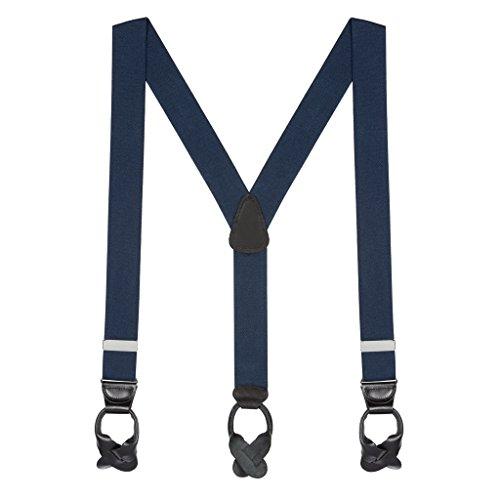 SuspenderStore Men's 1.5 Inch Wide Button Suspenders - NAVY BLUE