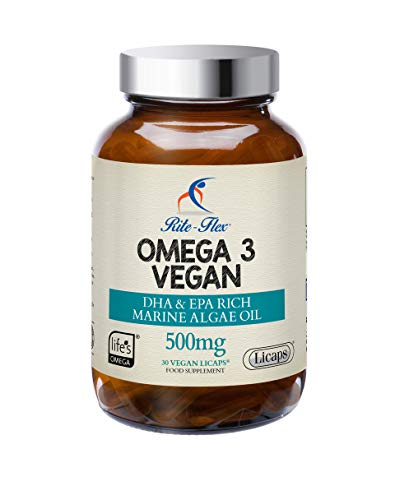 Vegan Omega 3 Supplement – Marine Algae Oil - 500mg by Rite-Flex - 225mg EPA/DHA - 30 Vegan Licaps Supports Normal Heart Vision & Brain Function - Sustainable Alternative to Fish Oil - Made in France
