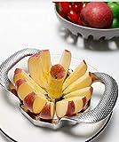Maxjaa affettatrice per mele, tagliapasta a 12 fette, affettatrice in acciaio inossidabile con 5 forchette per mela, pera, mango, pomodoro, patata, cipolla, drago, frutta