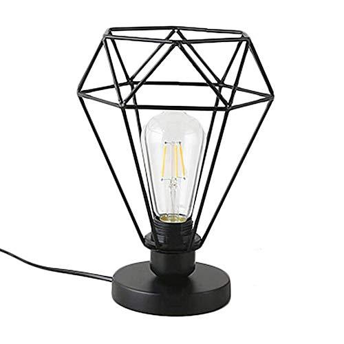 Chao Zan - Lámpara de mesa de hierro con forma redonda, E27, lámpara de techo de metal, lámpara de mesa de hierro forjado, con marco de diamante, para el hogar, el dormitorio, el restaurante
