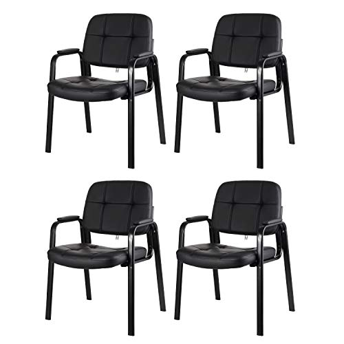 CLATINA Waiting Room Guest Chair with Bonded Leather Padded Arm Rest for Office Reception and Conference Desk Black 4 Pack