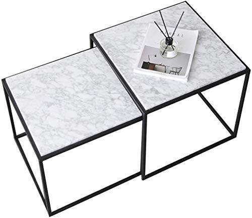 TZSXCJ Marmo Tavolini Estraibili, Piazza impilabile Tavolino, Nordic Divano del Salotto Tavolo, Struttura in Metallo, Salotto Moderno Tavolino X5C0J9