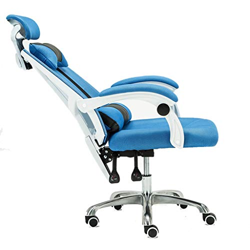 Stühle E-Sport-Stuhl/Computer Lounge Chair Mode Mesh-Stoff Bar Spiel Stuhl Büro-Boss Bürostuhl Konferenzraum Schwenker Stuhl Haupt Aufzug Stuhl Zurücklehnen (Color : Blue)