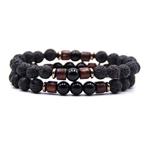 2Pcs/Set Lava Beads Bracelet Men Natural Stone Bracelets for Couples 8mm Strand Bracelet Blue ZB-01 Bracelet (Color : Obsidian, Size : One Size)