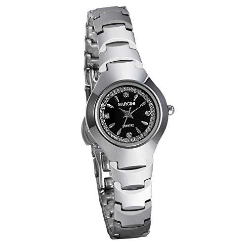 JewelryWe Damen Armbanduhr Analog Quarz Wolframcarbid Band Geschäfts Uhr Silber
