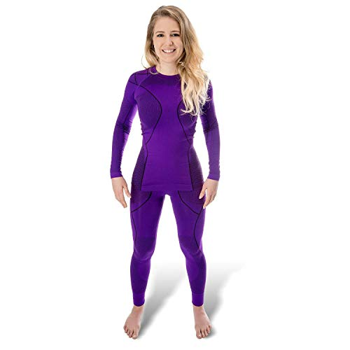 Black Snake® Funktionsunterwäsche Damen Thermo Unterwäsche Lange Unterhose + Langarm Unterhemd Seamless - S/M - Purpel