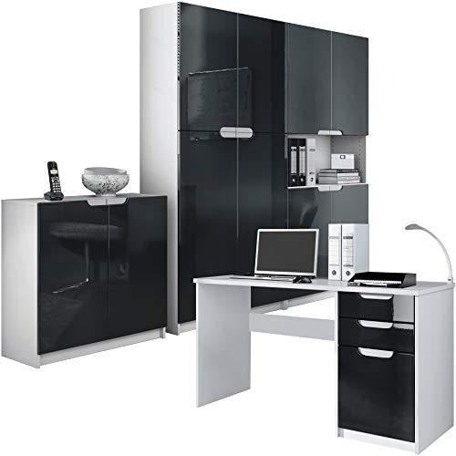 Vladon Büromöbel Arbeitszimmer komplett Set Logan, Korpus in Weiß matt/Fronten in Schwarz Hochglanz