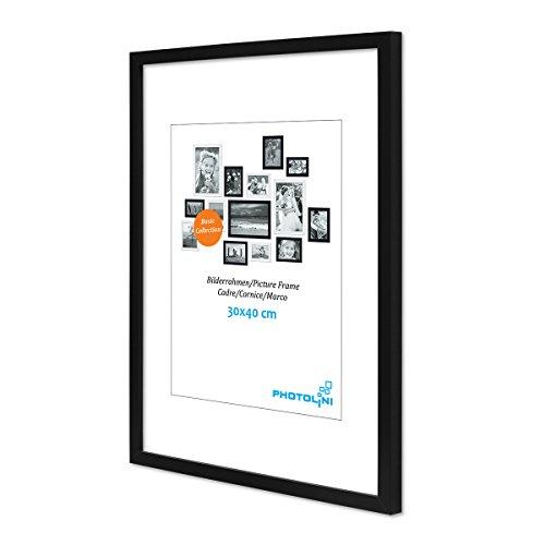 PHOTOLINI Poster-Bilderrahmen 30x40 cm Modern Schwarz aus MDF mit Acrylglas/Posterrahmen/Wechselrahmen