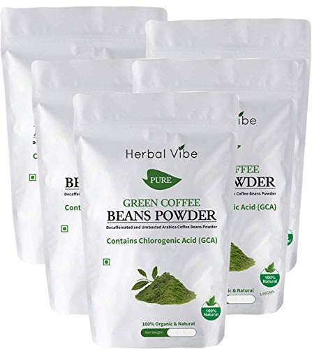 Herbal Vibe Organic Green Coffee Beans Powder for Weight Loss or Fat Burner and Immunity Booster Partner 500Gms (Pack of 5) | Made In India