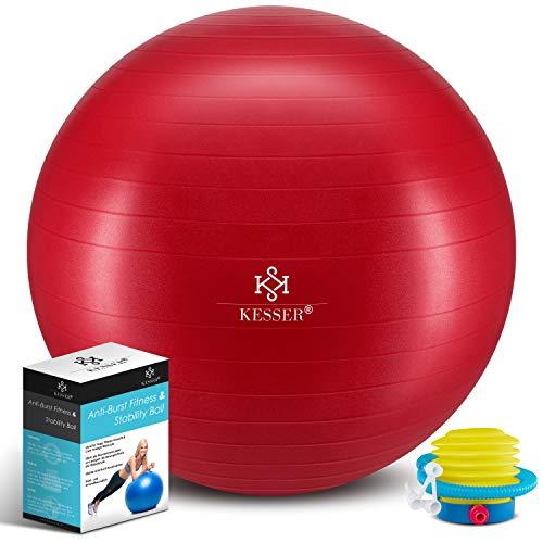 KESSER® Gymnastikball mit Luftpumpe Pumpe - Dicker Yogaball 85cm BPA-Frei | Sitzball Büro Anti-Burst als Fitness Yoga Core Büro-Stuhl als Fitness Kleingeräte, Balance Stuhl Gym-Home-Büro, Rot