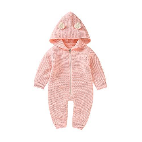 VICROAD Baby Strampler mit Kapuze für Neugeborene Mädchen Jungen Einteiler Warm Pullover Reißverschluss Overall, Rosa, 6-12 Monate (Herstellergröße: 80)
