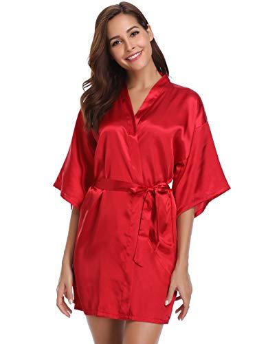 Vlazom Kimono morgonrock för kvinnor morgonrock satin badrock nattlinne ren färg kort stil med sned V-ringad svart, svart, L (UK 12-14)