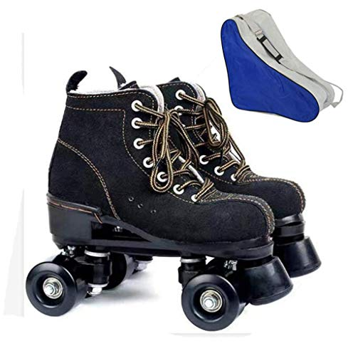 BCLGCF Patines De Piel De Vaca para Mujeres Y Hombres Zapatos De Caña Alta Patines Clásicos De Doble Fila Patines De Cuatro Ruedas con Bolsa para Zapatos, Negro,44