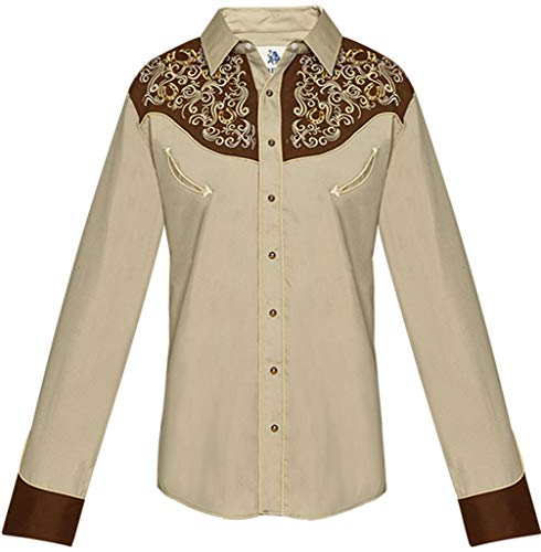 Modestone Men's Embroidered Horseshoe Filigree Fitted Western Camicia Cowboy Khaki S